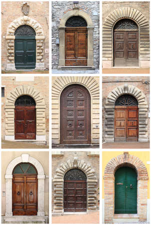 Collage of medieval front doors with rounded arch