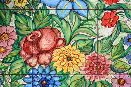 Traditional decorations in Vietri ceramic wall tiles
