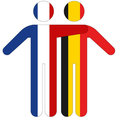France - Belgium / friendship concept on white background