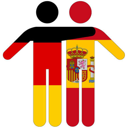 Germany - Spain / friendship concept on white background