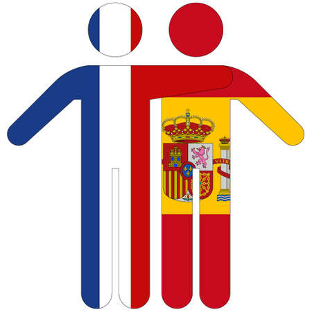 France - Spain / friendship concept on white background