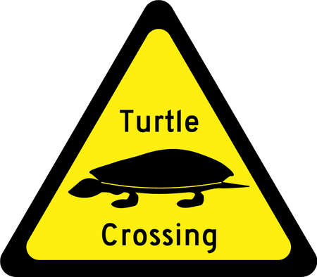 Warning sign with turtles on road symbol 스톡 콘텐츠