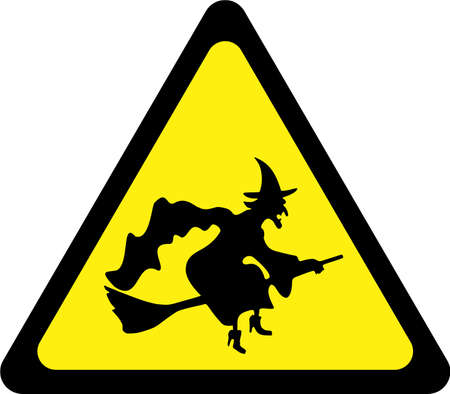 Warning sign with witch symbol 스톡 콘텐츠