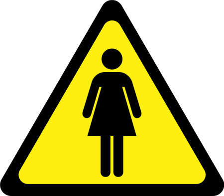 Warning sign with woman symbol 스톡 콘텐츠