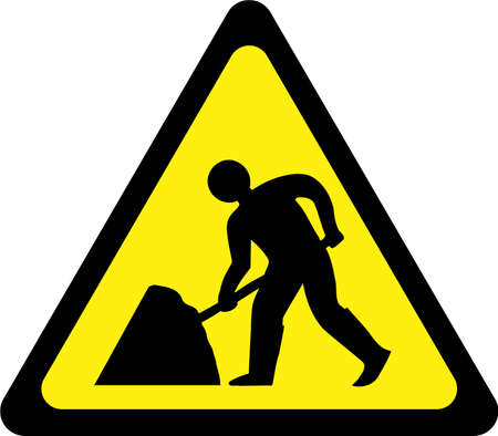 Warning sign with road works symbol