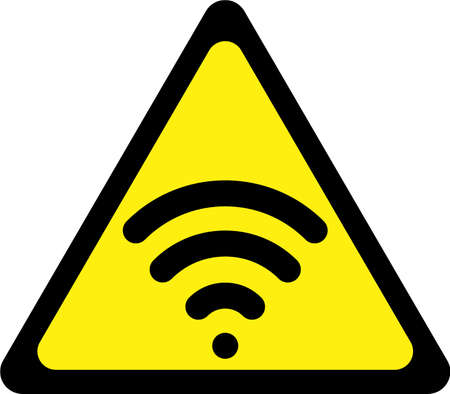 Warning sign with wireless symbol