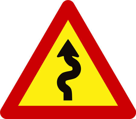 Warning sign with winding road symbol 스톡 콘텐츠