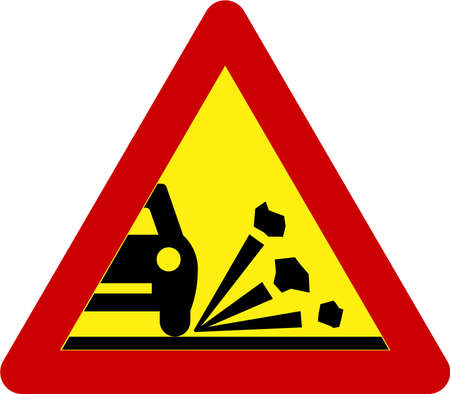Warning sign with gravel on road symbol 스톡 콘텐츠