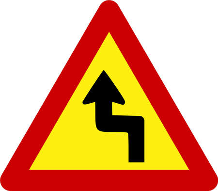Warning sign with dangerous curves symbol