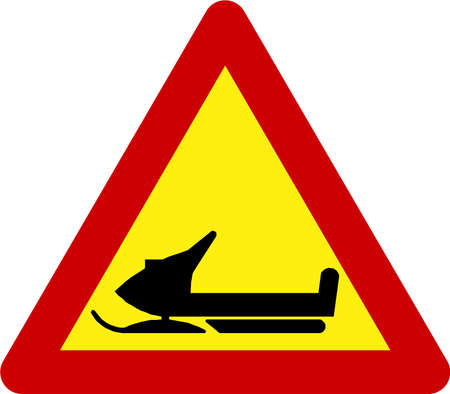 Warning sign with snowmobile symbol