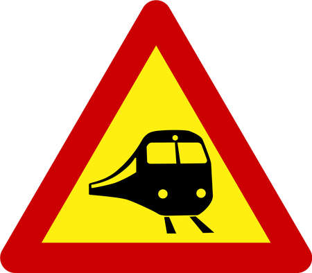 Warning sign with train symbol 스톡 콘텐츠