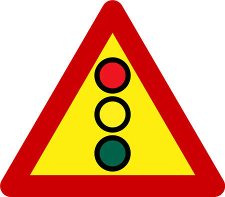 Warning sign with traffic light symbol