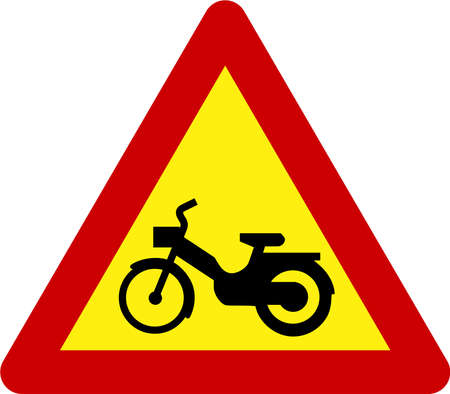 Warning sign with motorcycle symbol 스톡 콘텐츠
