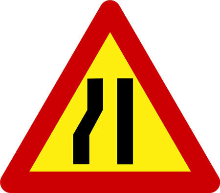 Warning sign with narrow road on left symbol