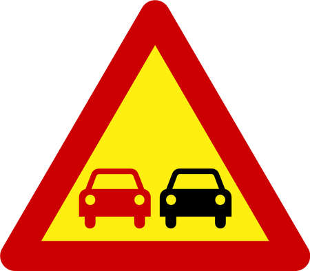 Warning sign with overtaking symbol