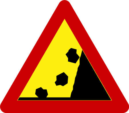 Warning sign with falling rocks symbol 스톡 콘텐츠