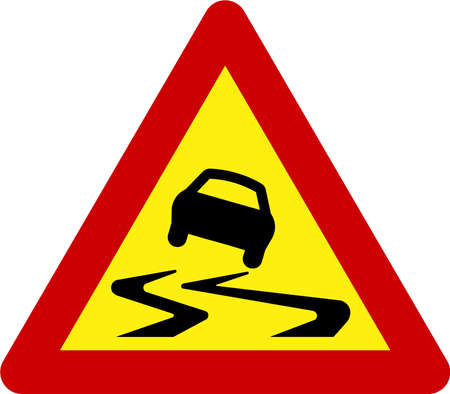 Warning sign with slippery road symbol