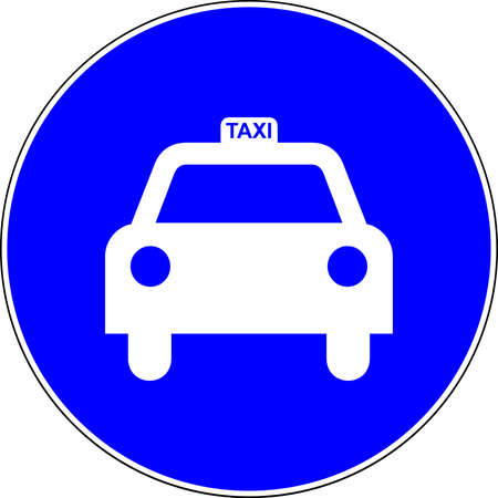 Taxi blue road sign