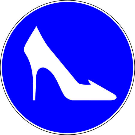 High heel shoes allowed blue sign 스톡 콘텐츠