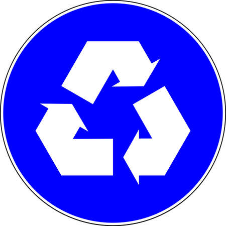Recycle blue sign on white background 스톡 콘텐츠