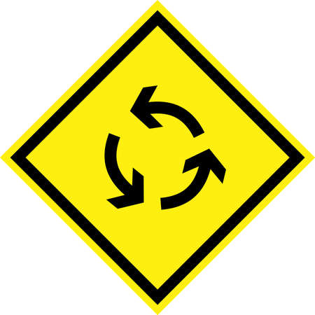 Yellow hazard sign with roundabout symbol