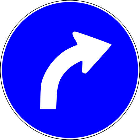 Turn Right ahead blue road sign 스톡 콘텐츠