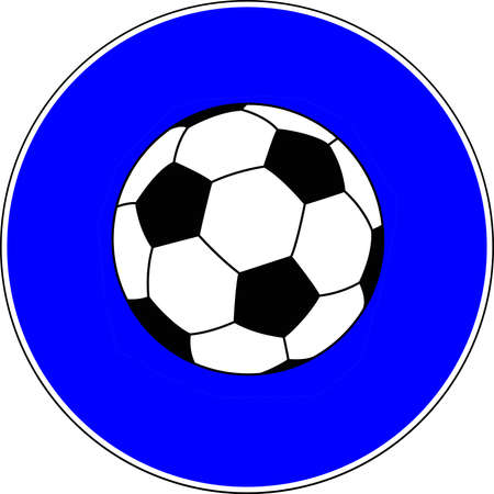 Soccer ball allowed blue sign 스톡 콘텐츠