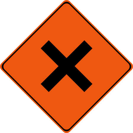Warning sign with intersection symbol