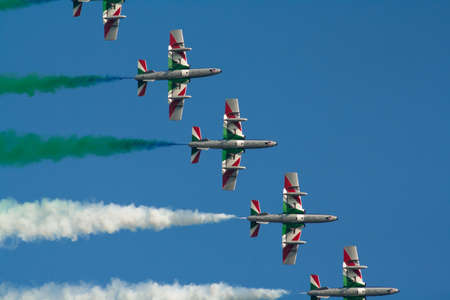 Tricolor arrows at an airshow Stock Photo