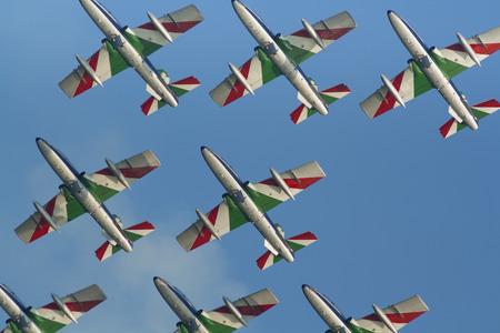 Frecce Tricolori team flying at an airshow Editorial
