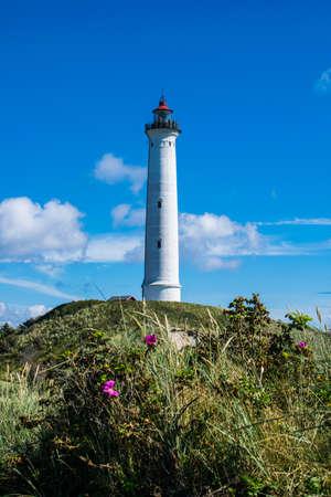 Hirtshals lighthouse on the Danish coast of Jutland Stock Photo - 98303061
