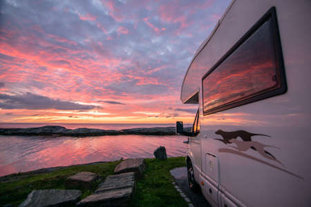 sunset on the camper
