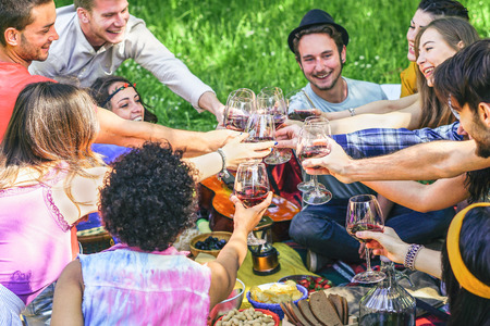 Group of happy young friends cheering with red wine glasses at picnic barbecue in countryside - Young people having fun drinking and eating outdoor - Friendship and youth holidays lifestyle concept