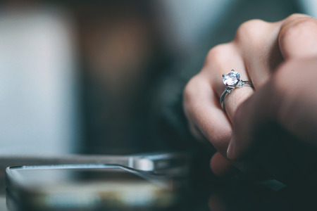Man marriage proposal - Boyfriend proposing to his girlfriend to get married - Concept of people relationship, ring present and love Stok Fotoğraf