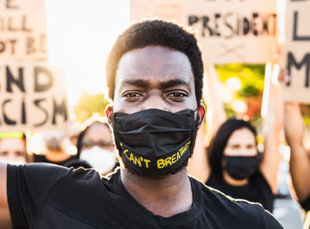 Black lives matter activist movement protesting against racism and fighting for equality - Demonstrators from different cultures and race protest on street for justice and equal rights Reklamní fotografie