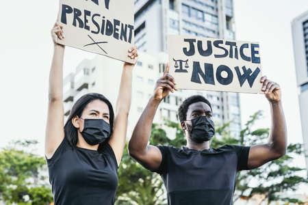 Activist movement protesting against racism and fighting for justice and equality - Black lives matter demonstrators