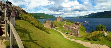 loch ness: Overview of Urquhart Castle and Loch Ness. Scotland. Stock Photo