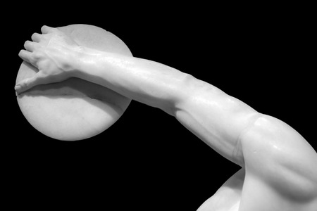 discus: Detail of discus thrower statue Stock Photo
