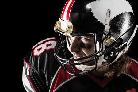 observant: Closeup of american football player Stock Photo