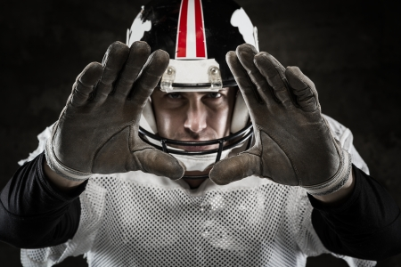 american football player: Portrait of american football player