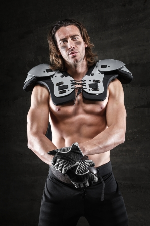 bare chested: Bare chested american football player
