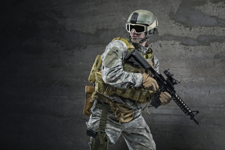 military training: Soldier with rifle and mask