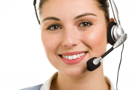 Portrait of happy smiling female support phone operator  photo