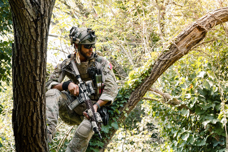 gunner: Portrait of Soldier in uniform of the U.S. Army on the trees