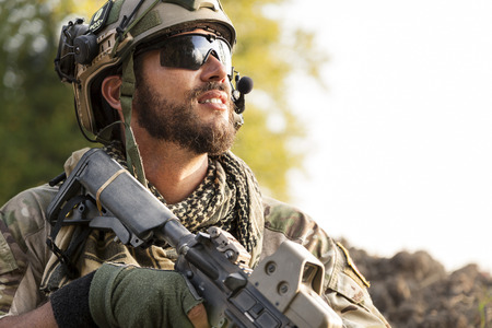 Portrait of American Soldier looking away photo
