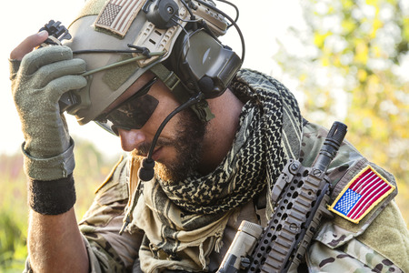 Portrait of American Soldier looking down