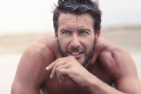 rugged man: Close up Handsome Thoughtful Athletic Man with No Shirt Stock Photo
