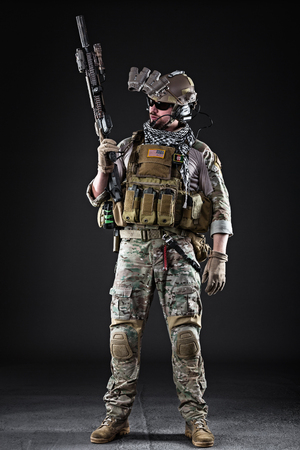 us soldier: Portrait of Bearded US Army Soldier on Dark Background