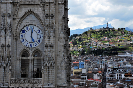View of Quito in Ecuador from a tower of the main cathedral of the city. Editorial