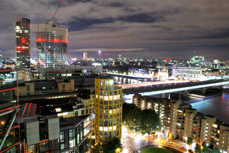 View of London from a building in Southwark near the Thames river